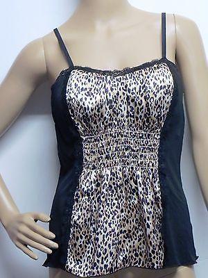 TAKARA Cheetah Animal Print Camisole Cami Top Sexy Tank Black Misses Jrs M New
