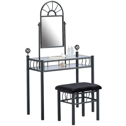 Vanity and Upholstered Bench - Black