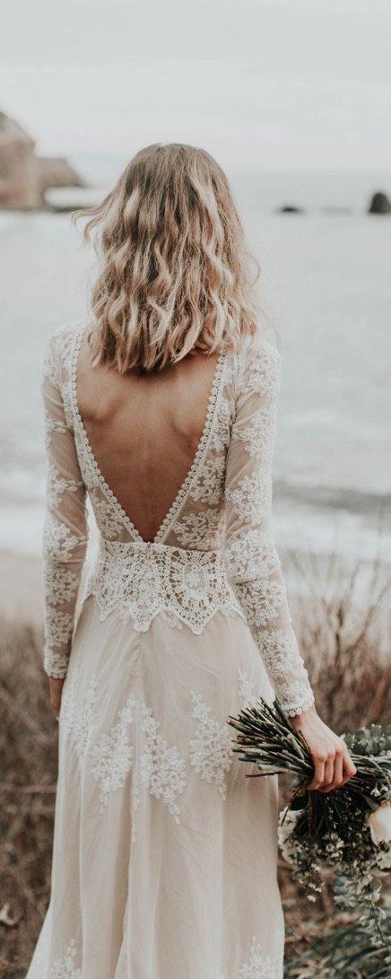 Ensotek Lace Bohemian Wedding Dress 2020 Long Sleeve Open