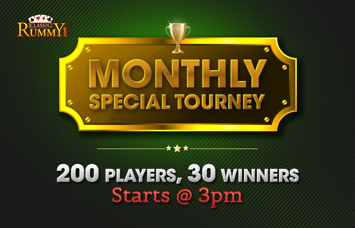 It's raining cash this month at #ClassicRummy. Gather all your luck and set out for a grand win of Rs.1,00,000 cash prizes in our MONTHLY SPECIAL TOURNEY on 23rd August (SUNDAY) @ 3PM.  Hurry up! Get ready to make the most of it.    #rummy, #specialtourney, #onlinerummy #rummygames #rummytournament #specialtournament