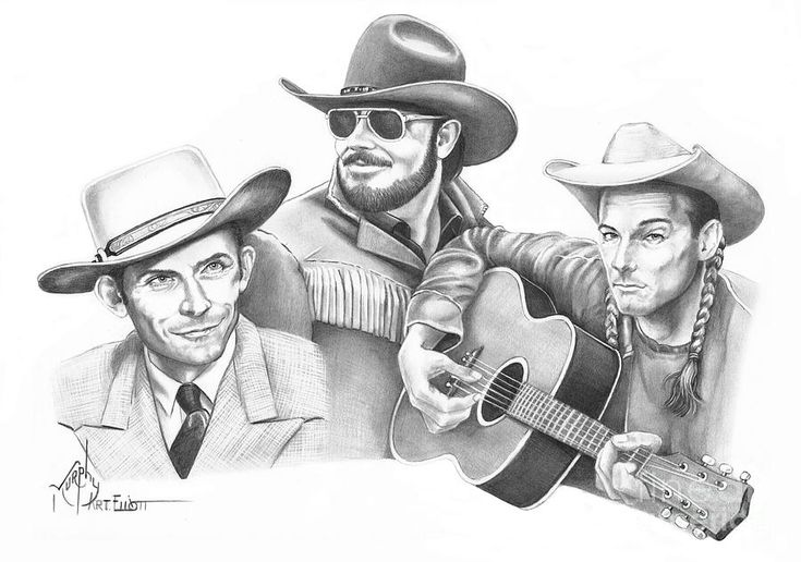 Hanks For The Memories by Murphy Elliott ~ traditional pencil art ~ Hank Williams, Hank Williams Jr. & Hank Williams III