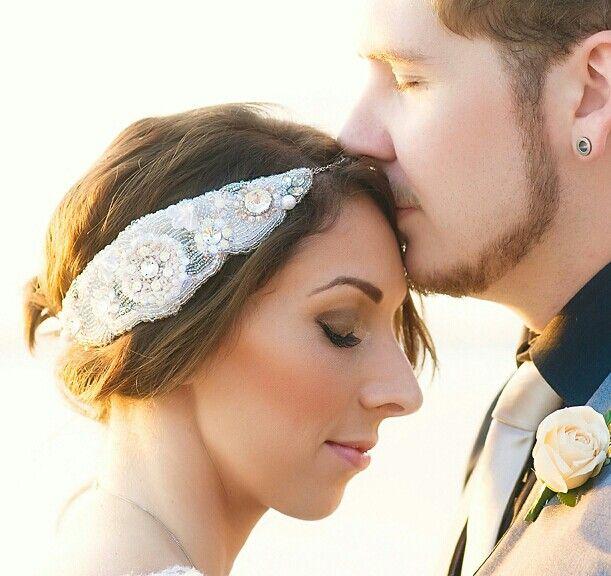 hand made bridal headpiece.  swarovski crystal detail.. crystal beading and swarovski pearls ♡