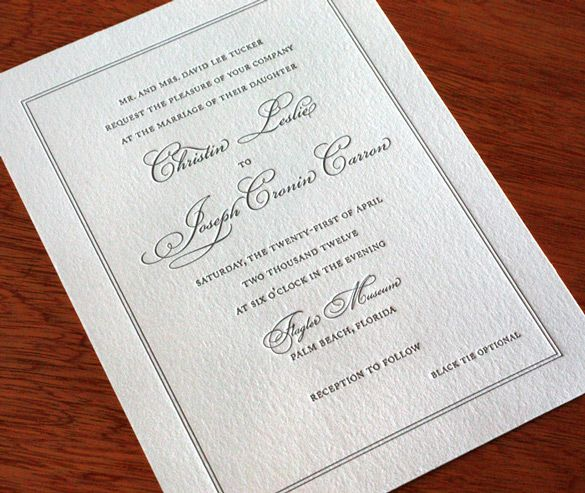 This traditional wedding invitation is perfect for wedding celebrations any time of year.