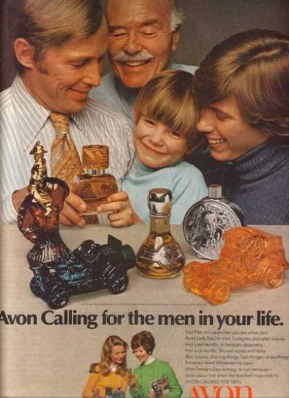 vintage Avon cologne bottle ad