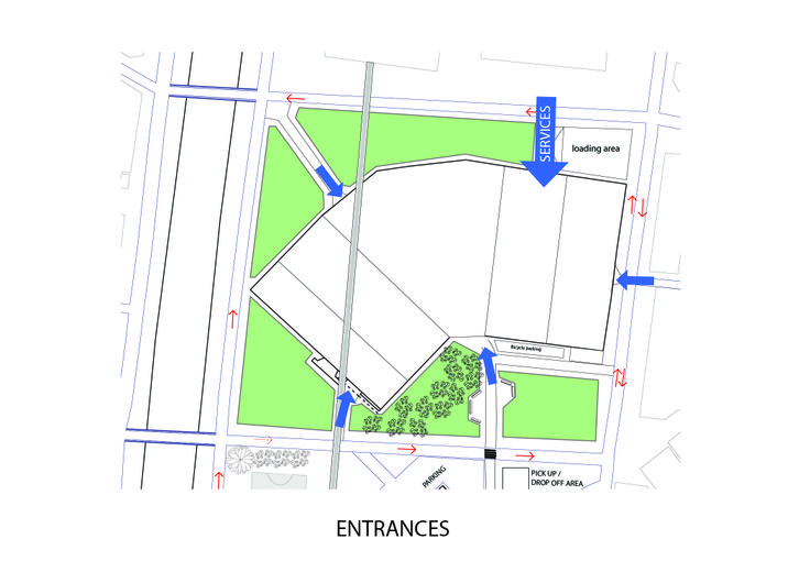 """Patmala Boondej 5434777425 (aj. Pan) """"Meet Meat"""" according to the site. The diagram shows how the building is going to place in the side and there are main entrances along with the gathering area."""