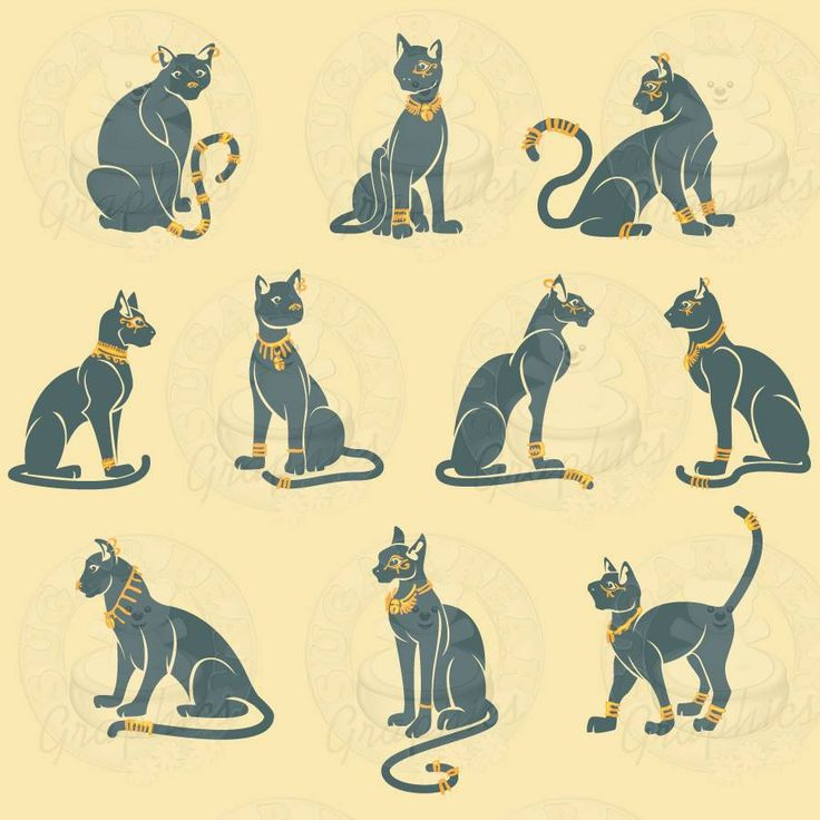 Egyptian Cats - my faves are the bottom middle and the middle right!