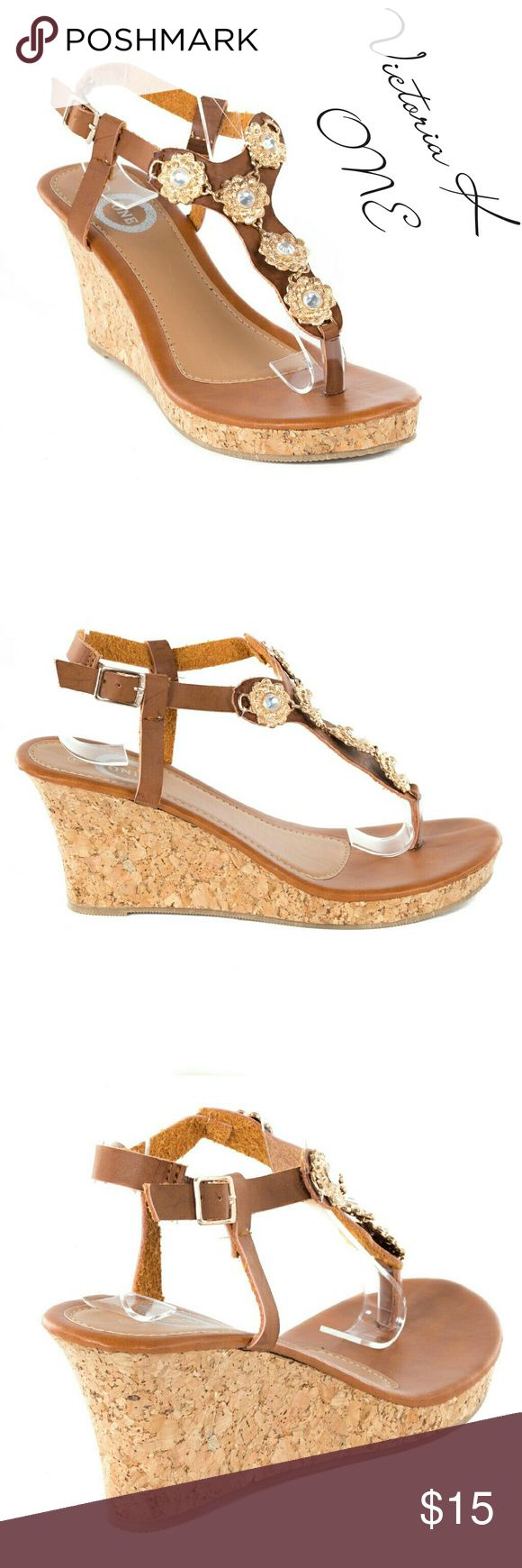 "Women Wedge Thong Sandals,  HS-2085, Camel Brand new Tory K open toe thong slingback wedge sandals in PU leather upper with beautiful decorative flower chain link in the front. 4"" cork platform, cushioned sole, from the ONE collection. Perfect for summer. A true statement in ladies shoes fashion! Tory K  Shoes Sandals"
