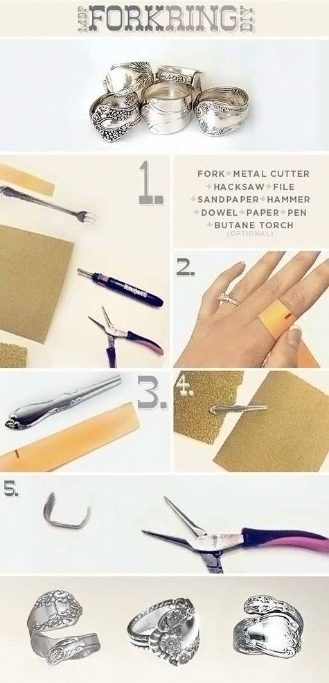 DIY Fork Ring diy crafts craft ideas easy crafts diy ideas crafty easy diy diy jewelry diy ring jewelry diy craft ring