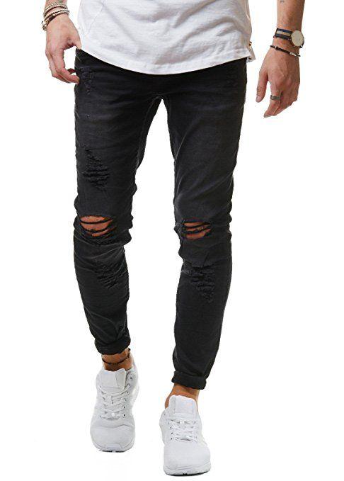 EightyFive Herren Jeans Denim Hose Slim Fit Skinny Destroyed Zerrissen Stretch Schwarz Weiß Khaki EF1512, Farbe:Schwarz, Hosengröße:W28 L32