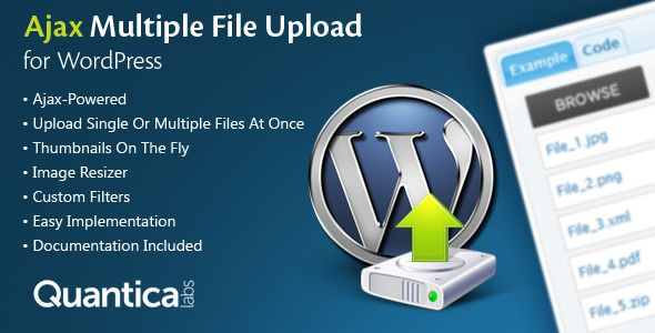 Ajax Multi Upload for WordPress is a file upload WordPress plugin based on jQuery. Tags: wordpress plugin, ajax, crop, file filters, file size limit, form integration, forms, image, jquery, resizing, submission, thumbnails, uploader.