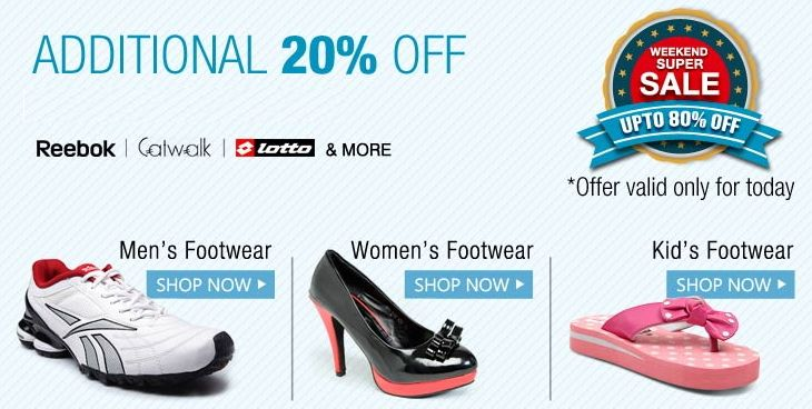 #‎FOOTWARE‬ ‪#‎SALE‬!!!  Get upto 80% off and also get ADDITIONAL 20% OFF on all men's /women's/kids footware.  HURRY! OFFER VALID TILL TODAY!