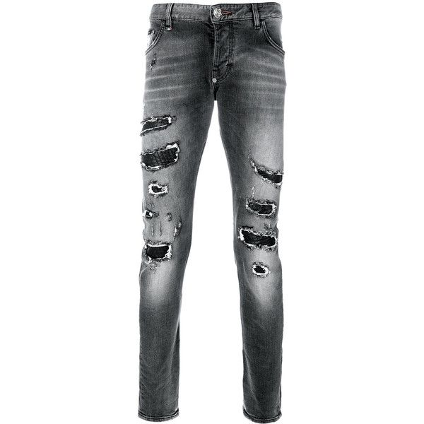 Philipp Plein super straight cut jeans ($1,043) ❤ liked on Polyvore featuring men's fashion, men's clothing, men's jeans, black, mens straight jeans, mens destroyed jeans, mens distressed jeans, mens ripped jeans and mens torn jeans
