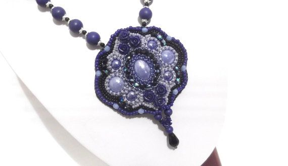 Bead embroidered necklace royal blue necklace OOAK by GabileriaHM