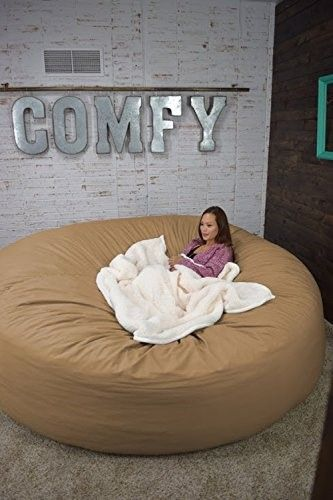 Bean Bag Bed 8 Foot Xtreem Oversized Bean Bag Chair In Twill, Tan Khaki