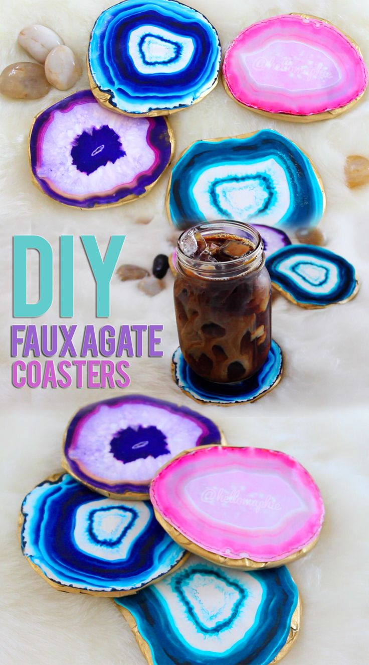 DIY Agate Coasters, it's a printed picture stuck to spray painted cardboard. Would probably be a lot better stuck to cork.