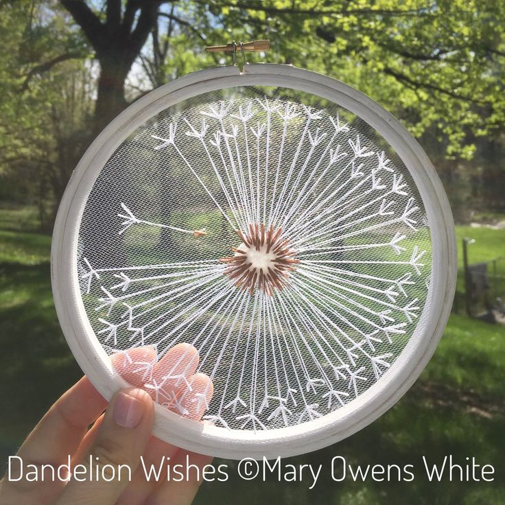 I see wishes, not weeds Hand embroidery on tulle makes this design float and dance on the wall. Several left for order. Dandelion hoop art