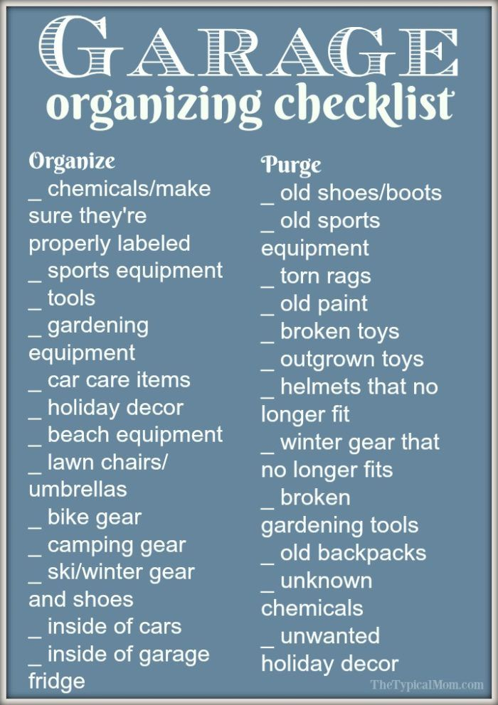 Easy garage organization ideas and a free printable to help you purge and organize your garage! What to get rid of and how to store what is left so you can fit your cars again!