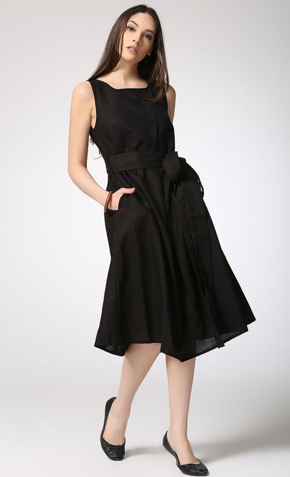 Black linen dress women dress C422 от YL1dress на Etsy