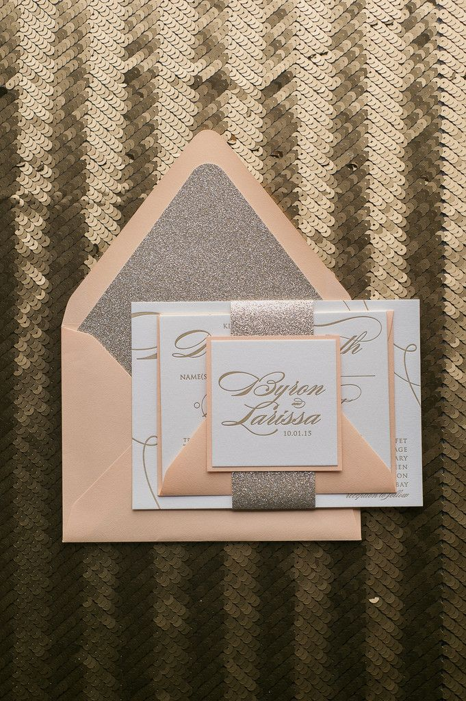 Fabulous Peach and Gold Glitter Calligraphy Letterpress Wedding Invitations. LAUREN Glitter Collection by Just Invite Me