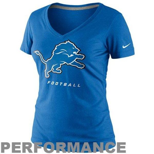 Nike Detroit Lions Ladies Legend Logo Performance V-Neck T-Shirt - Light Blue