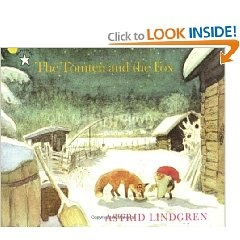 """""""The Tomten and the Fox"""" by Astrid Lindgren. Moonlit scenes of the farmyard under snow show Reynard the fox prowling near the henhouse. He's hungry, but Tomten, the kindly old troll who guards the henhouse at night, shares his porridge with the fox and the hens are safe--for another night."""