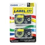Casio XR9YW2S Tape Cassettes for KL Label Makers 9mm x 26ft Black on Yellow 2/Pack