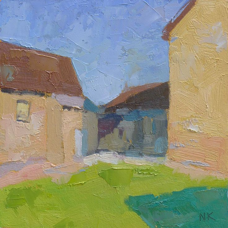 backyard in Fürstenberg, oil on paper, 19x19cm