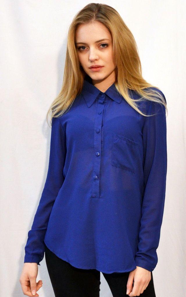 40e9250706f Plain Color Chiffon Basic Shirt (Royal Blue) | CY Boutique | SilkFred
