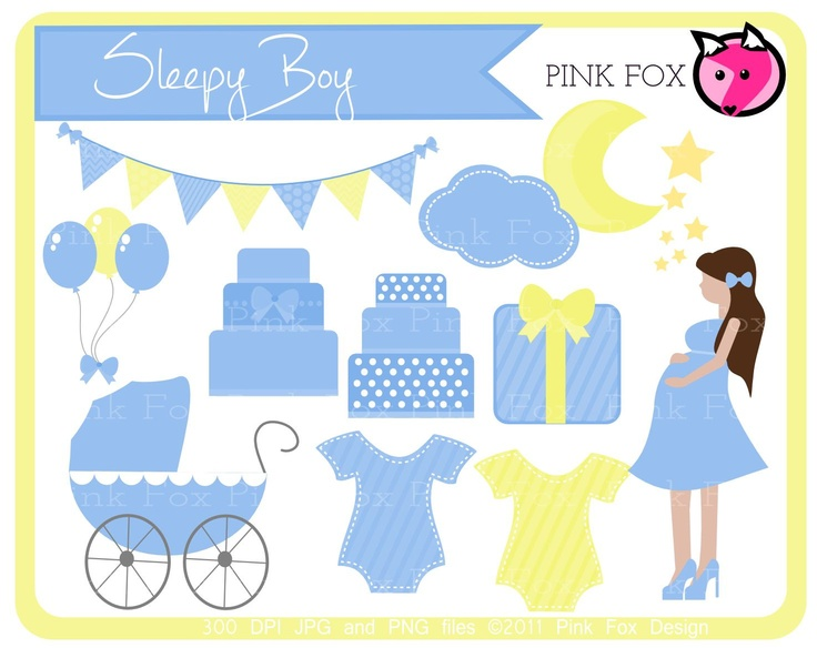 Instant Download Baby Boy Shower Clipart Cake Moon And Stars Bunting Banner  Patterned Commercial Use Image