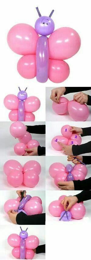 Paso a paso de mariposa con globos... | globoflexia | Pinterest