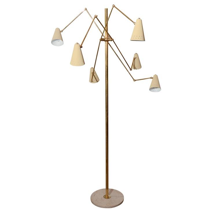 1stdibs | Italian Mid-century Floor Lamp With Ivory Shades