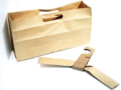 Good sustainable design -   Paper Bag That Transforms Into A Clothes Hanger, Origami Style - DesignTAXI.com