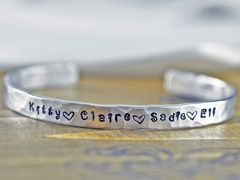 Custom Cuff Bracelet, Personalized Bracelet, Mothers Bracelet, Mommy Jewelry…
