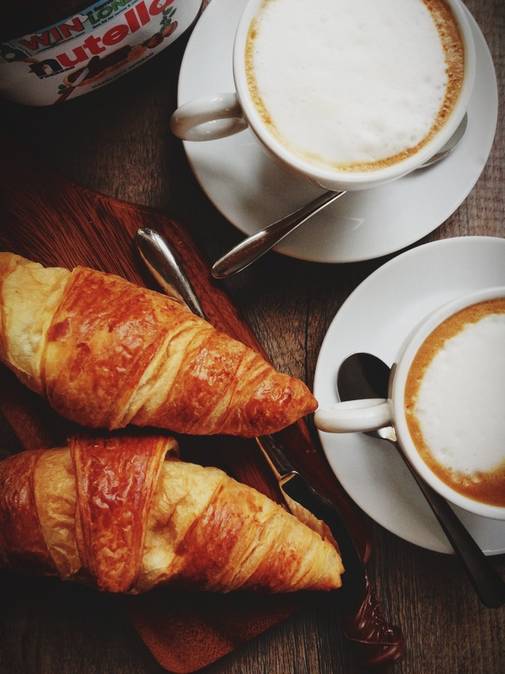 Italian style breakfast. Croissant Nutella and coffee! I'd be good with that