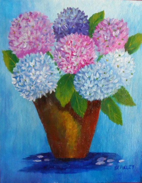 Hydrangea Painting Hydrangeas Acrylic Wall Art Decor Hydrangea Painting Floral Painting Flower Painting