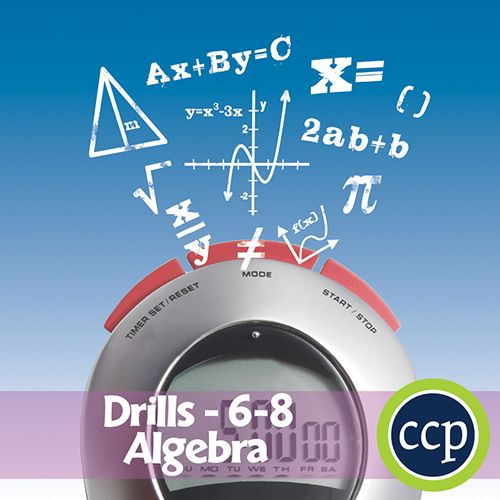 For grades 6-8, our resource meets the algebraic concepts addressed by the NCTM standards and encourages the students to review the concepts in unique ways.Each drill sheet contains warm-up and timed drill activities for the student to practice algebra concepts. The pages of this resource contain a variety in terms of levels of difficulty and content to provide students with a variety of differentiated learning opportunities.