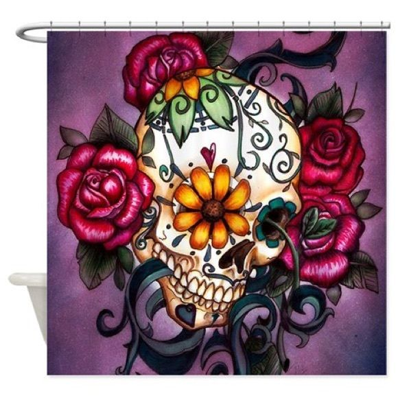 Very colorful and pretty sugar skull cloth shower curtain