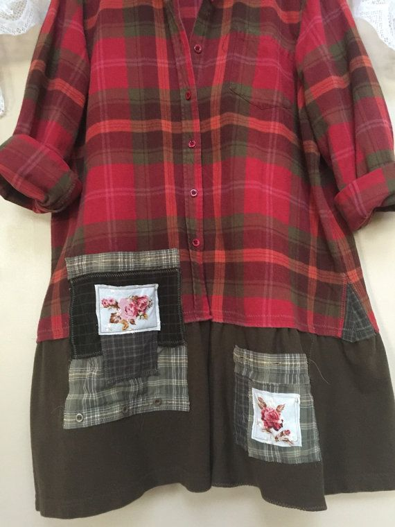 Upcycled Red Plaid Flannel Shirt / Shabby by SimplyCathrineAnn                                                                                                                                                                                 More