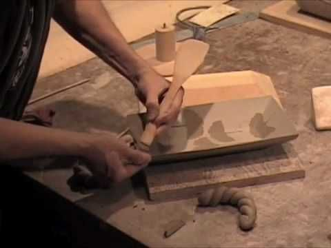 Dale Baucum Makes Stoneware Trays Using a Wooden Mold