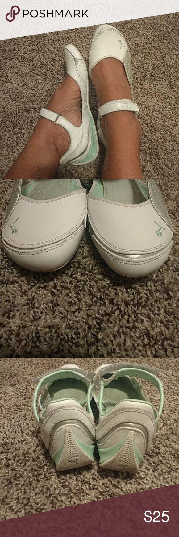 SALE!!Puma sz 10 Great condition overall.. Wear shoes inside...I wear a 9 and I had to go up on this shoe. It says sz 10 but fits more like a 9/9.5 These are super comfortable white teal and silver Velcro strap Puma Shoes Sneakers