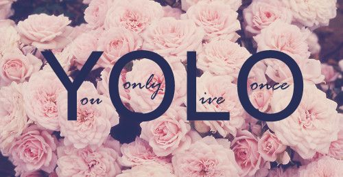 """Love the floral background, really have a strong distaste for the quote. Like Jack Black says, """"YOLO is just Carpe Diem for stupid people."""" Though I disagree with how he phrases it, the bottom line is there."""