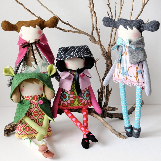 Handmade softies by Visual Artist, Maria Madeira - Western Australia plush fairy tale characters in modern style