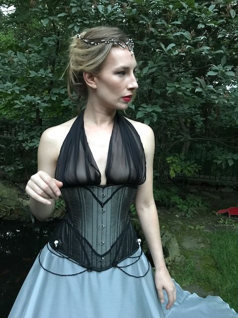 Pewter silk with black lace, and braded underbust corset ( and elf crown) by Starkers Corsetry