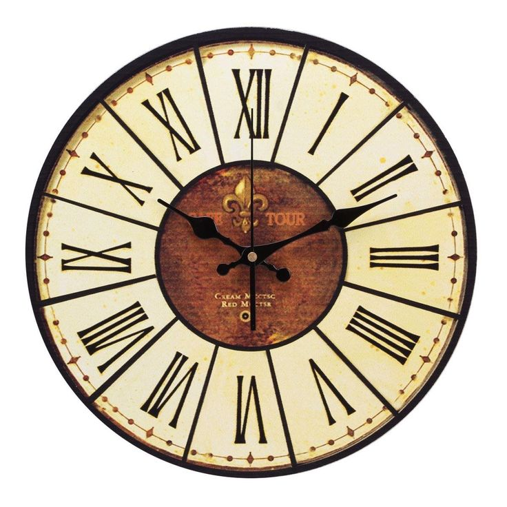yesurprise pendule murale en bois mdf rond horloge diy vintage num ration romaine 014d amazon. Black Bedroom Furniture Sets. Home Design Ideas