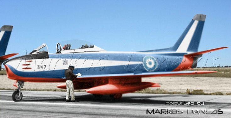 "EBA - RHAF. Canadair CL-13 Mk2 [F-86E(M) Sabre], Hellenic Aerobatic Team "" Hellenic Flame"", at Germany , 1962. Greece by Markos Danezis"