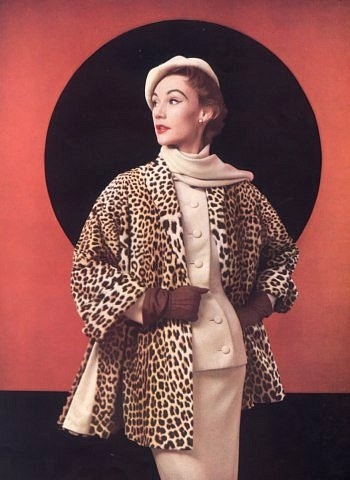 Sophie Malgat in fur and suit ensemble by Christian Dior, 1952
