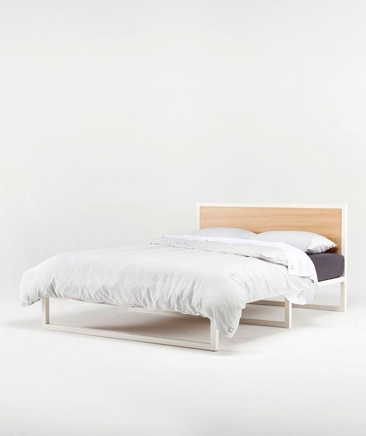 Tasmanian Oak veneer and powdercoated tube steel bed frame in Queen & Single sizes