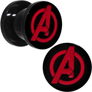00 Gauge Black PVD Licensed Avengers Logo Screw Fit Plug Set   Body Candy Body Jewelry
