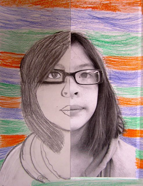 ART: split portraits.  Take child's photo, cut in half, use as a reference to have them recreate the other half.@Pascale De Groof