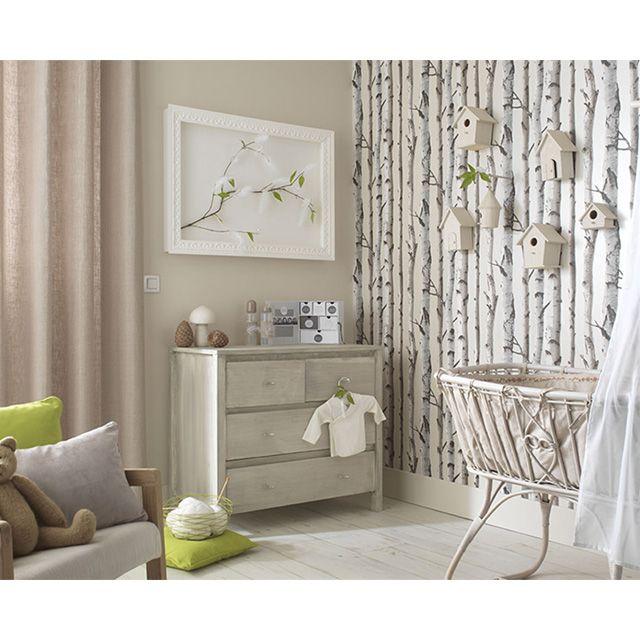 Papier peint bouleau beige nacr castorama chambre for Papier peint castorama